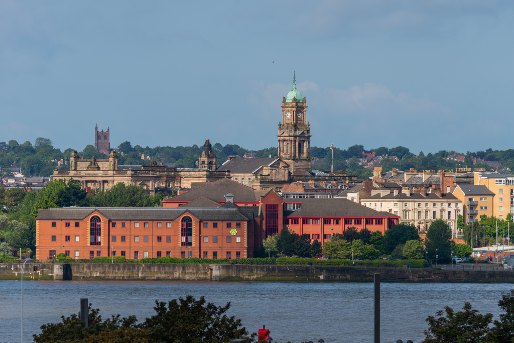 Birkenhead Town Hall viewed from Liverpool